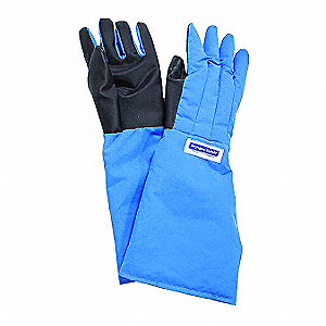 "Elbow Length Cryogenic Gloves, Laminated Nylon With Silicone Coated Palm, Size XL, 17 "" Length"