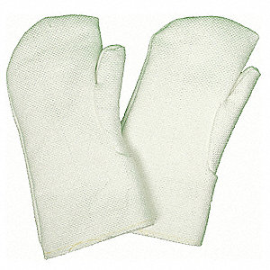 Heat Resistant Mittens, Zetex® Highly Texturized Fiberglass, 1000°F Max. Temp., One Size Fits Most,