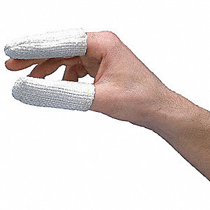 Heat Resistant Finger Cots, White, 100% Premium Zetex Texturized Fiberglass, Size One Size Fits All