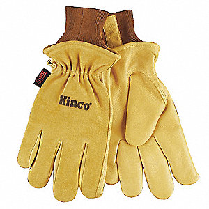 Pigskin Leather Gloves with Knit Wrist Cuff, Gold, M