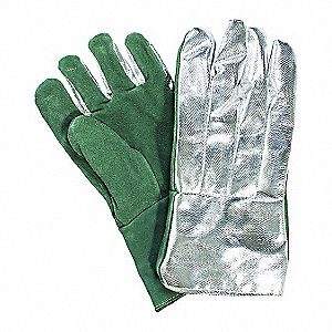 Heat Resistant Gloves, Leather, 395°F Max. Temp., Universal, PR 1