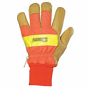 Pigskin Leather Gloves with Knit Wrist Cuff, Orange, L