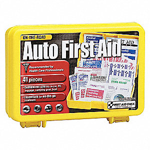 First Aid Kit, Kit, Plastic Case Material, Vehicle, 15 People Served Per Kit