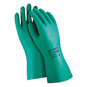 15.00 mil Nitrile Chemical Resistant Gloves, Flock Lining, Green, Size 8