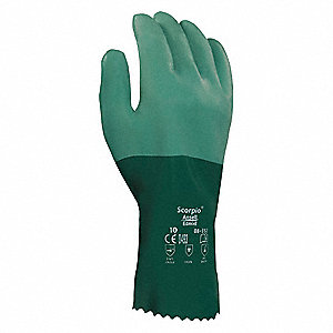 "Chemical Resistant Gloves, Size 9, 12""L, Green ,  1 PR"
