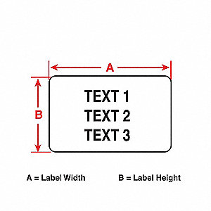 "Polyester Raised Panel Label, White, 4""W x 1"""