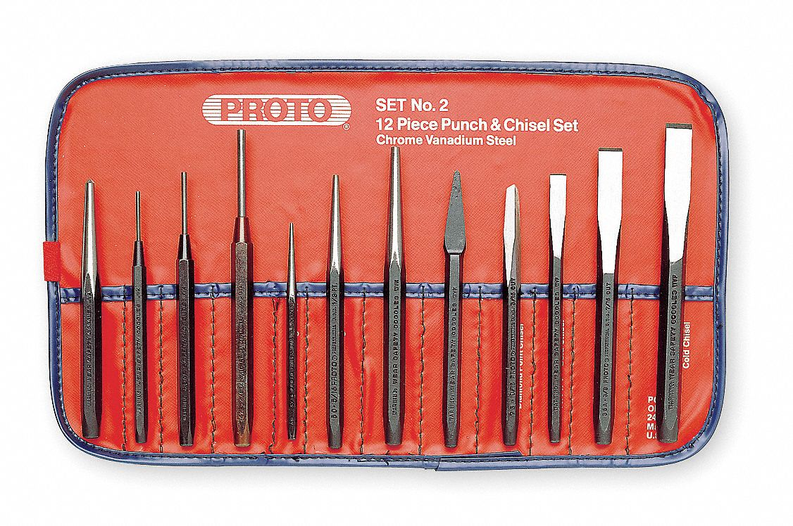 Yellow Black Punch Chisel Kit 12 Piece Metal Hole Alignment Tool Set Hand Files