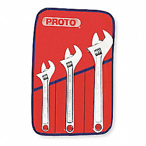 "Adj. Wrench Set,8"",10"",12"",Chrome,3 Pc."