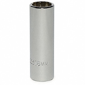 "16mm Alloy Steel Socket with 3/8"" Drive Size and Chrome Finish"