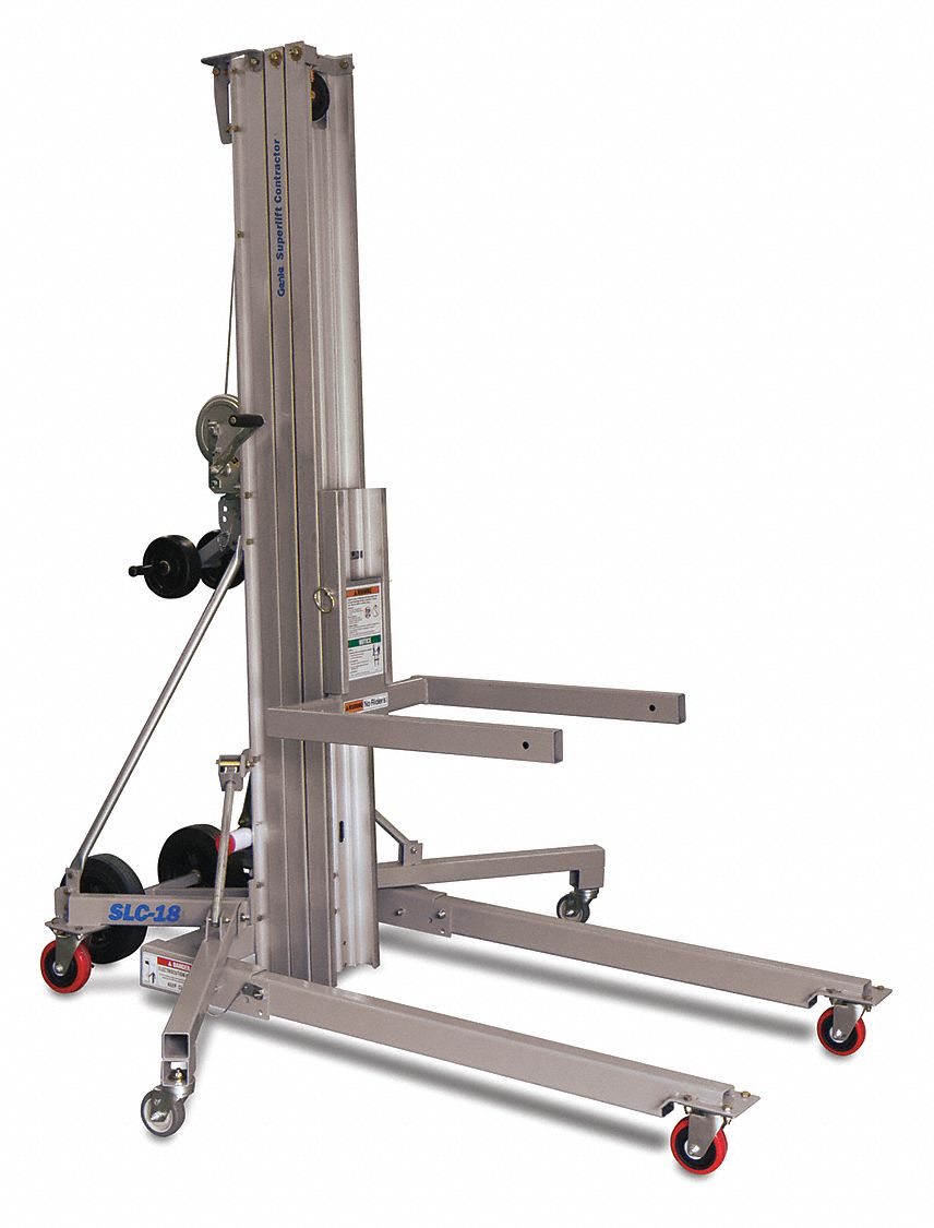 Heavy-Duty Manual Material Lift for Contractors,  650 lb Load Capacity,  Platform Length 27 in