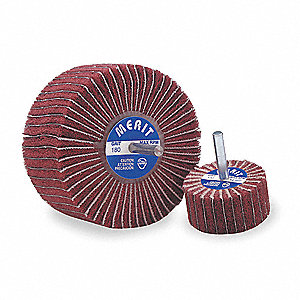 "2"" Mounted Flap Wheel With Shank, Coated/Non-Woven Blend, 1"" Width, 1/4"" Shank Size, Aluminum Oxide"