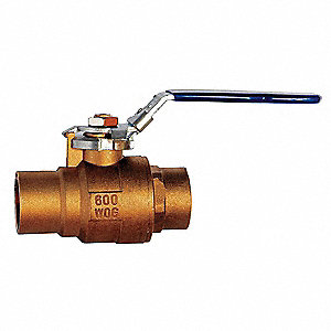 "Brass Sweat x Sweat Ball Valve, Locking Lever, 2"" Pipe Size"
