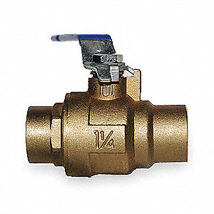"Brass Sweat x Sweat Ball Valve, Lever, 1-1/4"" Pipe Size"