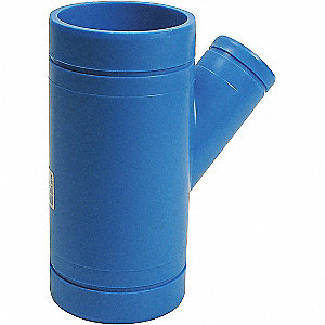 "4"" x 4"" x 1-1/2"" Reducing Double Wye, Polypropylene, Max. Pressure 80 psi, Blue"