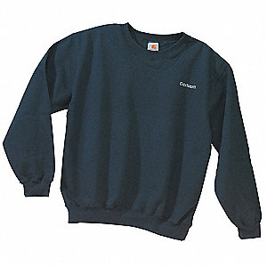 Crew Neck Sweatshirt,Blck,Cotton/PET,2XL