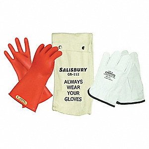 Red Electrical Glove Kit, Natural Rubber, 00 Class, Size 9