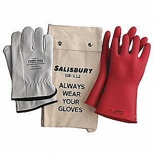 Red Electrical Glove Kit, Natural Rubber, 0 Class, Size 10