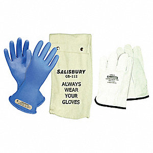 Blue Electrical Glove Kit, Rubber, 0 Class, Size 9
