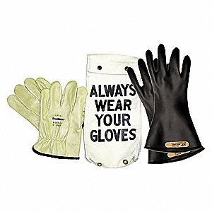 Black Electrical Glove Kit, Natural Rubber, 0 Class, Size 9