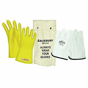 Yellow Electrical Glove Kit, Natural Rubber, 0 Class, Size 10