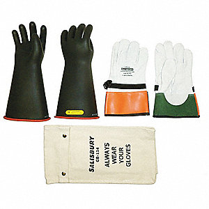 Black Exterior/Red Interior Electrical Glove Kit, Natural Rubber, 2 Class, Size 10