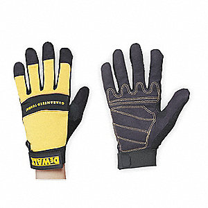 General Utility Mechanics Gloves, Synthetic Leather Palm Material, Yellow/Black, L, PR 1