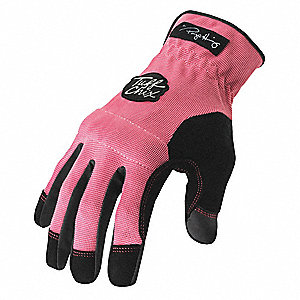 General Utility Mechanics Gloves, Synthetic Leather Palm Material, Pink, L, PR 1