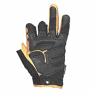 Leather Mechanics Gloves, Synthetic Leather Palm Material, Tan/Black, 2XL, PR 1