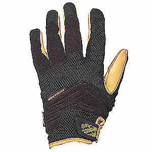 Leather Mechanics Gloves, Synthetic Leather Palm Material, Tan/Black, L, PR 1