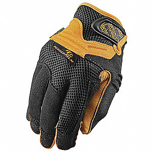 Leather Mechanics Gloves, Synthetic Leather Palm Material, Tan/Black, M, PR 1