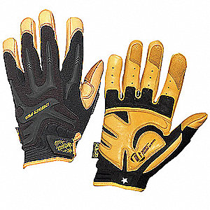 Anti-Vibration Gloves, Synthetic Leather Palm Material, Black, L, PR 1