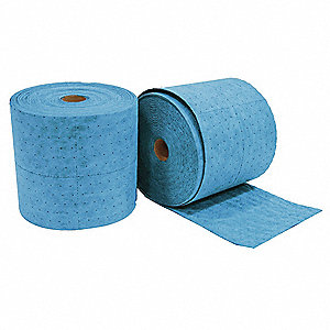 Light, Polypropylene Absorbent Roll, Fluids Absorbed: Oil Only / Petroleum, 300 ft. Length