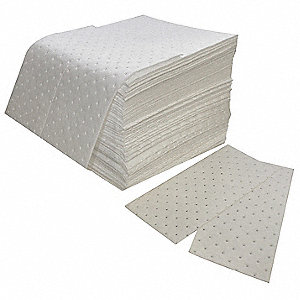 "18"" x 16"" Medium Absorbent Pad for Oil-Based Liquids, White, 100PK"