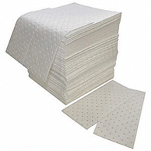 "18"" x 16"" Heavy Absorbent Pad for Oil Only / Petroleum, White&#x3b; PK100"