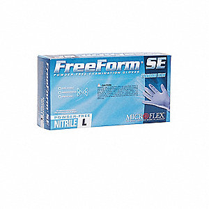 "9-3/5"" Powder Free Unlined Textured Nitrile Disposable Gloves, Blue, Size M, 100PK"