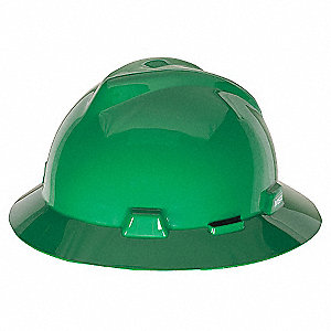 Full Brim Hard Hat, 4 pt. Pinlock Suspension, Green, Hat Size: 6-1/2 to 8