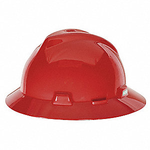 Full Brim Hard Hat, 4 pt. Pinlock Suspension, Red, Hat Size: 6-1/2 to 8