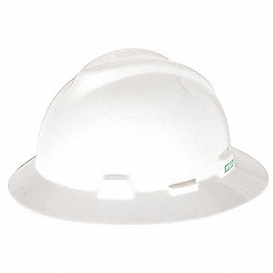Full Brim Hard Hat, 4 pt. Pinlock Suspension, White, Hat Size: 6-1/2 to 8