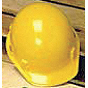 Front Brim Hard Hat, 4 pt. Ratchet Suspension, Yellow, Hat Size: 6-1/2 to 8