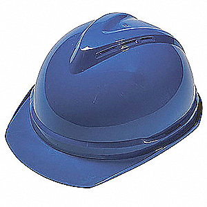 Front Brim Hard Hat, 6 pt. Ratchet Suspension, Blue, Hat Size: 6-1/2 to 8