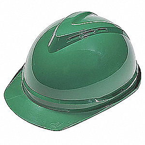 Front Brim Hard Hat, 6 pt. Ratchet Suspension, Green, Hat Size: 6-1/2 to 8