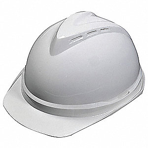 Front Brim Hard Hat, 6 pt. Ratchet Suspension, White, Hat Size: 6-1/2 to 8