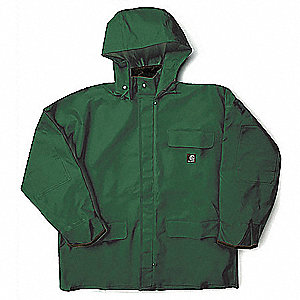 "Men's Green PVC Rain Jacket with Detachable Hood, Size S, Fits Chest Size 34"" to 36"""