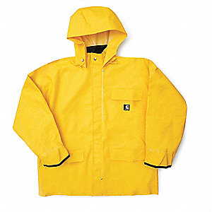 "Men's Yellow PVC Rain Jacket with Detachable Hood, Size XL, Fits Chest Size 48"" to 50"""