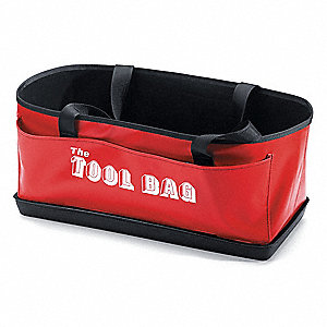 "1-Pocket Vinyl General Purpose Tool Tote, 9-1/2""H x 21""W x 9""D, Red"