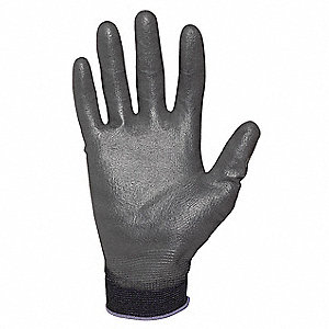 13 Gauge Smooth Polyurethane Coated Gloves, Size M, Black