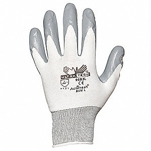 15 Gauge Foam Nitrile Coated Gloves, Glove Size: M, Gray/White