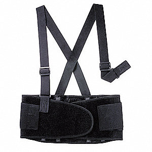 "Black Elastic Back Support with Stay, Back Support Size: XL, 8-3/4"" Width, Fits Waist Size 52"" to 62"