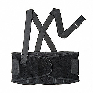 "Black Elastic Back Support with Stay, Back Support Size: L, 8-1/2"" Width, Fits Waist Size 42"" to 52"""