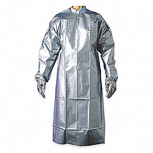 "Chemical Resistant Sleeve Apron, Silver, 60"" Length, 38"" Width, Silver Shield Material, EA 1"